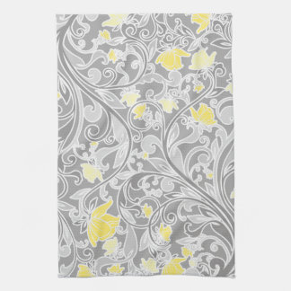 Modern Yellow and Gray Swirly Floral Kitchen Towel