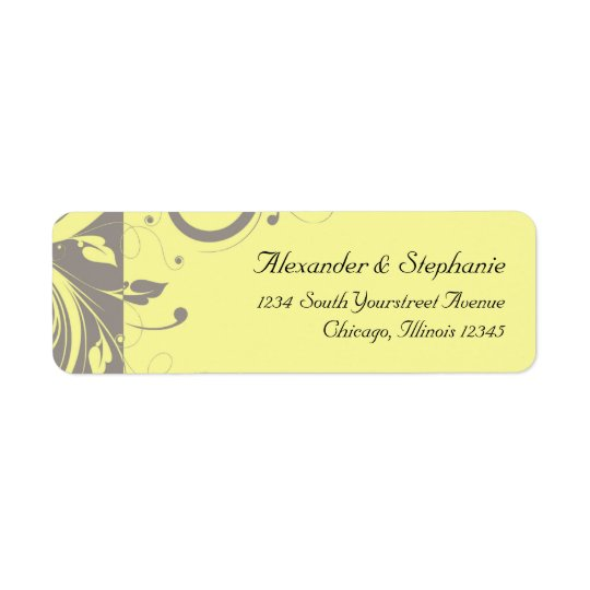 Modern Yellow and Grey Swirl Wedding Return Address Label