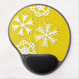Modern yellow and white Christmas  snowflakes Gel Mouse Pad