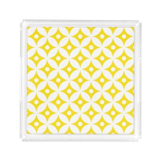 Modern Yellow and White Circle Polka Dots Pattern Acrylic Tray
