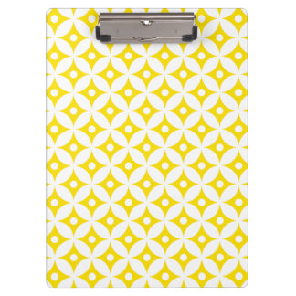 Modern Yellow and White Circle Polka Dots Pattern Clipboard