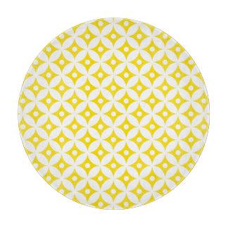 Modern Yellow and White Circle Polka Dots Pattern Cutting Board
