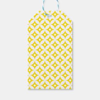 Modern Yellow and White Circle Polka Dots Pattern Gift Tags