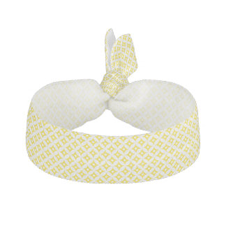 Modern Yellow and White Circle Polka Dots Pattern Hair Tie