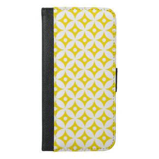 Modern Yellow and White Circle Polka Dots Pattern iPhone 6/6s Plus Wallet Case