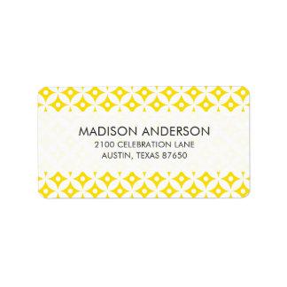 Modern Yellow and White Circle Polka Dots Pattern Label