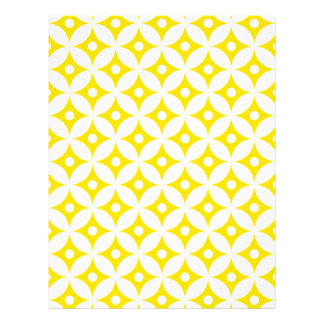 Modern Yellow and White Circle Polka Dots Pattern Letterhead