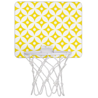 Modern Yellow and White Circle Polka Dots Pattern Mini Basketball Hoop