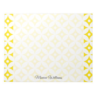 Modern Yellow and White Circle Polka Dots Pattern Notepad
