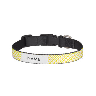 Modern Yellow and White Circle Polka Dots Pattern Pet Collar