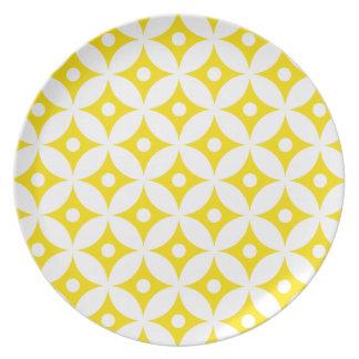 Modern Yellow and White Circle Polka Dots Pattern Plate