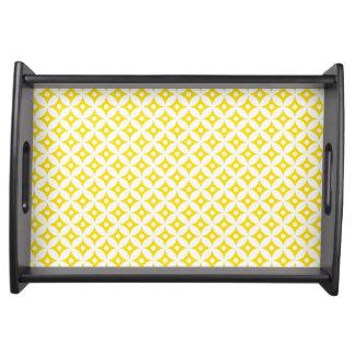 Modern Yellow and White Circle Polka Dots Pattern Serving Tray