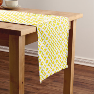 Modern Yellow and White Circle Polka Dots Pattern Short Table Runner