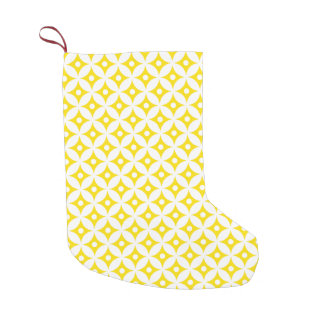 Modern Yellow and White Circle Polka Dots Pattern Small Christmas Stocking
