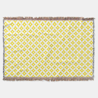 Modern Yellow and White Circle Polka Dots Pattern Throw Blanket