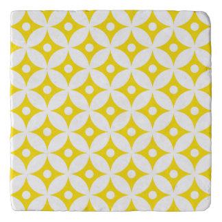Modern Yellow and White Circle Polka Dots Pattern Trivet