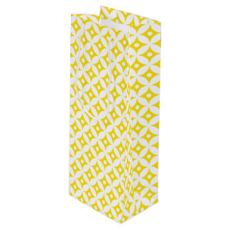 Modern Yellow and White Circle Polka Dots Pattern Wine Gift Bag