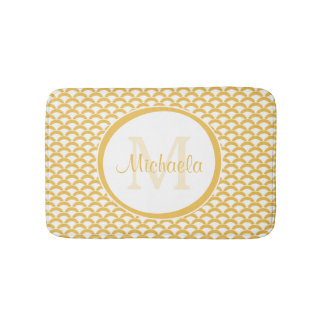 Modern Yellow and White Scallops Monogram and Name Bath Mat
