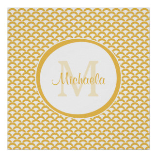 Modern Yellow and White Scallops Monogram and Name Poster