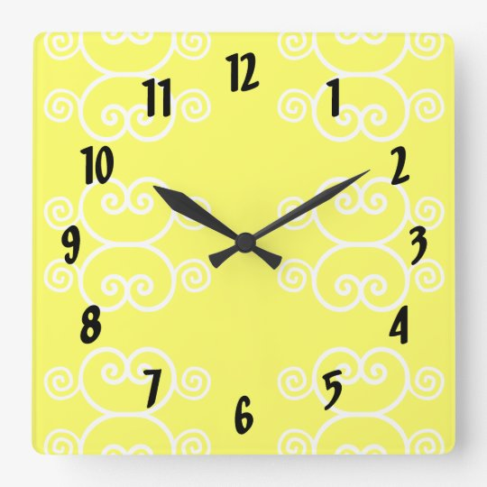 Modern Yellow and White Wall Clock with scrolls