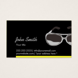 Modern Yellow Border Sunglasses Dark Business Card