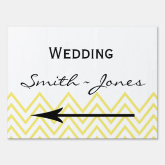 Modern Yellow Chevron Wedding Direct Sign