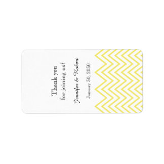 Modern Yellow Chevron Wedding Lip Balm Label