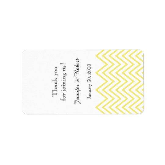 Modern Yellow Chevron Wedding Lip Balm Label
