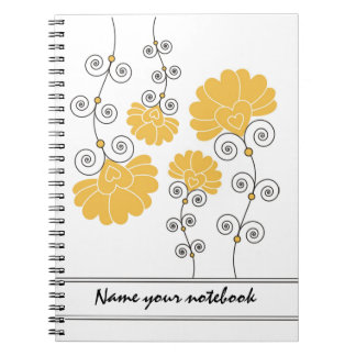 Modern Yellow Floral Designer Notebooks