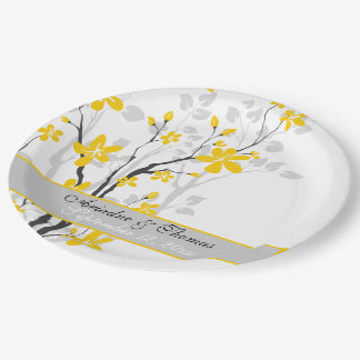Modern yellow flowers on black branch wedding 9 inch paper plate