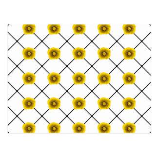Modern Yellow Flowers on Plaid Postcard