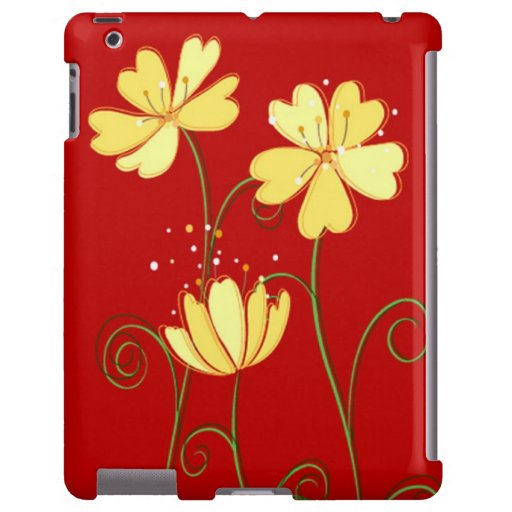 Modern  Yellow Flowers On Red