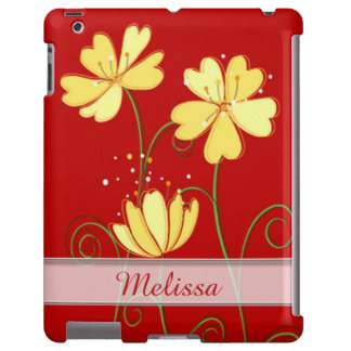 Modern  Yellow Flowers On Red Custom Name