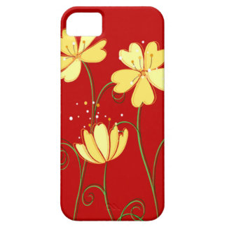 Modern  Yellow Flowers On Red iPhone 5 Case
