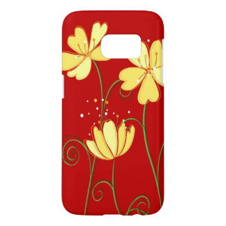 Modern  Yellow Flowers On Red Samsung Galaxy S7 Case