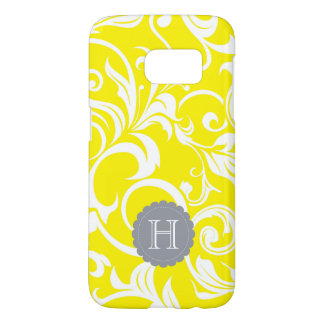 Modern Yellow Gray Floral Wallpaper Swirl Monogram Samsung Galaxy S7 Case