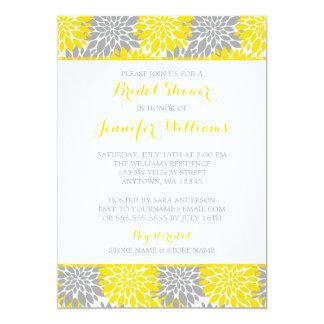 Modern Yellow Gray Flower Bridal Shower Card