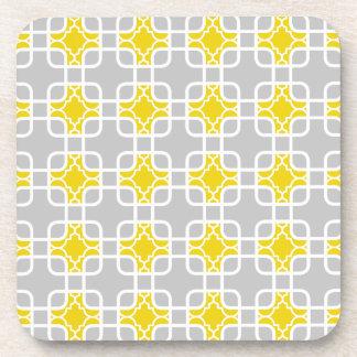 Modern Yellow & Gray Geometric Pattern Coaster