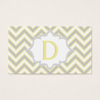 Modern yellow, grey chevron monogram personalized business card