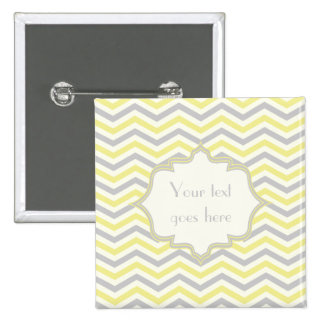 Modern yellow, grey, ivory chevron pattern custom 2 inch square button
