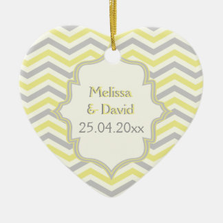 Modern yellow, grey, ivory chevron pattern custom ceramic heart ornament