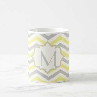 Modern yellow, grey, ivory chevron pattern custom coffee mug