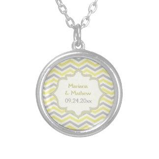 Modern yellow, grey, ivory chevron pattern custom round pendant necklace