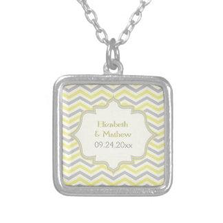 Modern yellow, grey, ivory chevron pattern custom square pendant necklace