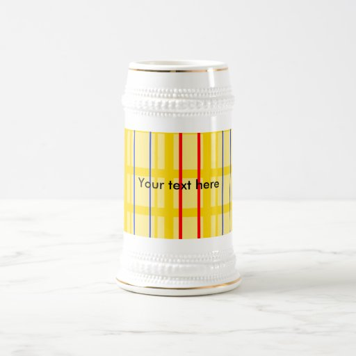 Modern yellow grid pattern with red blue stripes coffee mug