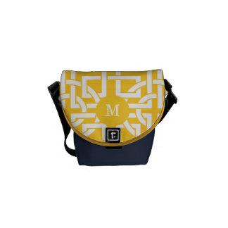 Modern Yellow Navy Retro Circle Geometric Pattern Messenger Bag