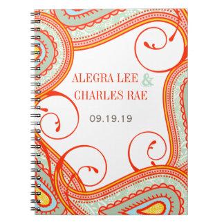 Modern Yellow Orange Aqua Mint Guest Book