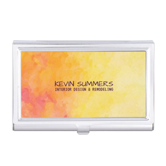 Modern Yellow & Orange Watercolor Background Business Card Holder