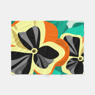 Modern Yellow Pansies Fleece Blanket