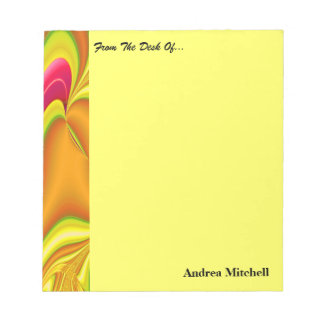 modern yellow pink abstract notepad